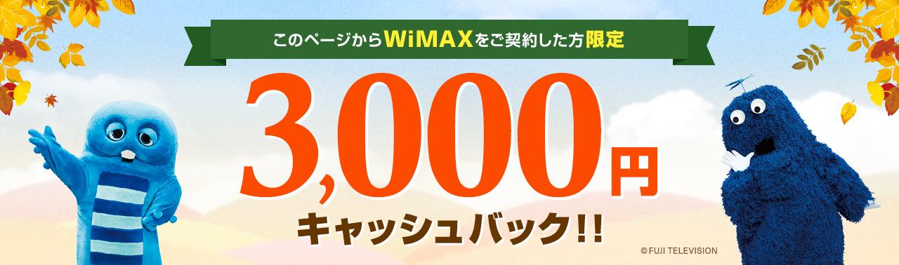 このページからWiMAXをご契約した方限定 3,000円キャッシュバック!